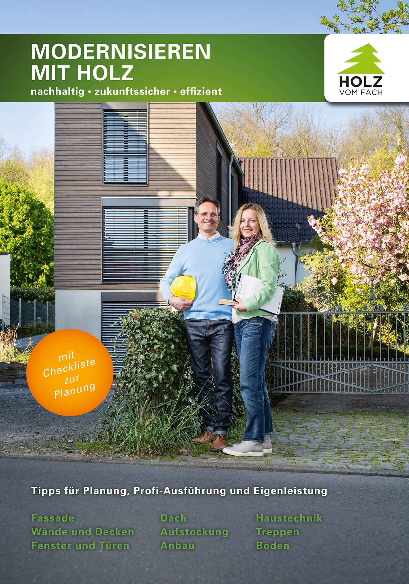 Titelbild der Broschüre Modernisieren mit Holz