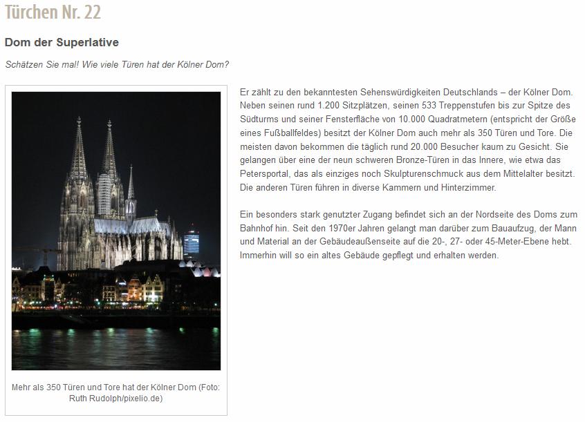 Mehr als 350 Türen und Tore hat der Kölner Dom.